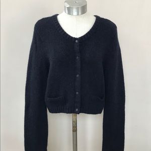 Anthro Charlie & Robin Wool Navy Cropped Sweater L